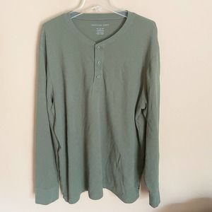 American Eagle Green Pullover Henley Sweater XXL